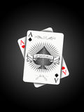 Aces. Two aces with light effect on a black background stock illustration
