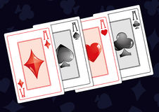 Aces 2. Quads aces on dark background,  illustration Royalty Free Stock Photos