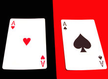 Aces. Red ace on black, black ace on red Royalty Free Stock Photos