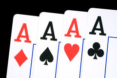 Aces. Four aces, isolated on black, clipping path included Stock Images