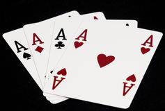 Aces. Of spades diamonds hearts and clubs Royalty Free Stock Images