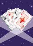 Aces 4. Four aces in the spotligh on the starry sky,  illustration additional Stock Photos