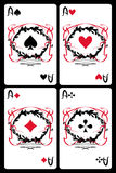 Aces. Cards set . aces on a black background Royalty Free Stock Image