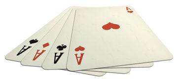 Aces from above. Illustration of a poker of aces view from above, with heart's card in evidence and isolated on a white backround royalty free illustration