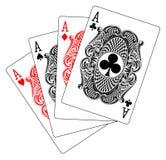 Aces al club del diamante de la espada del corazón del póker Foto de archivo