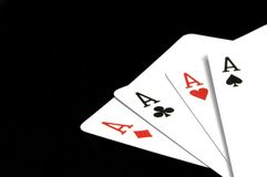 Aces on Black stock images