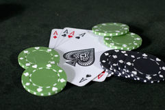Aces, black and green Royalty Free Stock Photos