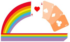 Aces cards on colorful rainbow isolated Royalty Free Stock Photo