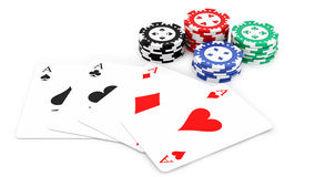 Aces and casino chips Stock Image