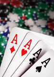 Aces and  Casino Chips in background Stock Photography