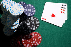 Aces and chips Royalty Free Stock Photography