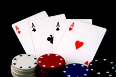 Aces and chips Royalty Free Stock Photo