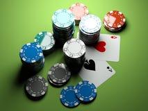 aces chips poker two Стоковые Фотографии RF