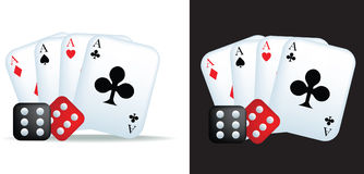 Aces and dice. Simple icon style illustration of aces and dice Royalty Free Stock Photo