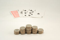 Aces and Eights  and Pyramind of Quarters Stock Photo