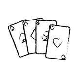 Aces el icono de las tarjetas del póker Imagen de archivo