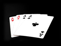 Aces. Four aces on black background Stock Photo