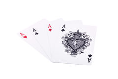 Aces. Four aces diamons, hearts isolated stock illustration
