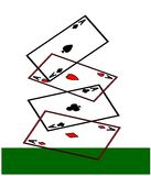 Aces high. Four aces, hearts, spades, diamonds and clubs, playing cards falling onto a green card table. 2D clipart illustration Stock Images