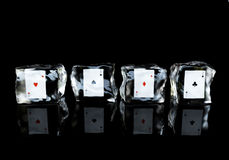 Aces in the ice Royalty Free Stock Photo