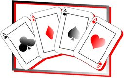 Aces cards isolated Stock Photography