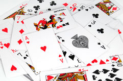 Aces and joker. Two aces,joker and some cards for play poker Royalty Free Stock Photography