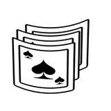 Aces le tisonnier de pelles jouant le contour de magicien de carte Illustration de Vecteur