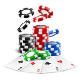Aces lying near realistic casino chips, cards. Aces lying near realistic casino chips or playing cards of different suits and stack of falling gambling 3d tokens stock illustration