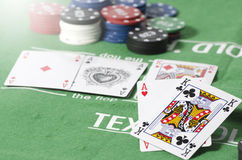 Aces more king with gambling chip Royalty Free Stock Images