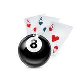 Aces naipes con la bola del número ocho en blanco Fotografía de archivo