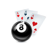 Aces playing cards with number eight ball  on white Stock Photography
