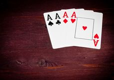 Aces playing cards, poker game texas Stock Images