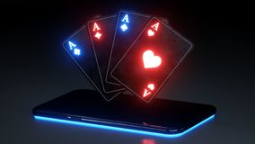 Aces Playing Cards and Smart Phone Gambling Concept With Neon Lights Isolated On The Black Background - 3D Illustration vector illustration