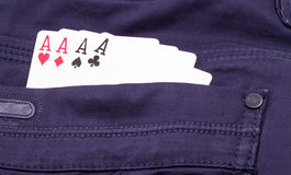 Aces in the pocket of your trousers Royalty Free Stock Photo