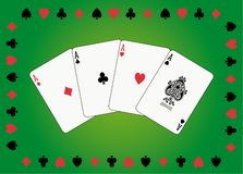 Aces poker. On green backgrounk in suit of cards frame Royalty Free Stock Photo