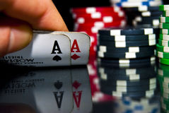 Aces and Poker chips Royalty Free Stock Photos