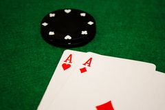 Aces and poker chips Stock Images