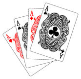 Aces poker heart spade diamond club. Illustration of four aces poker playing cards Stock Photo
