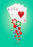 Aces poker. Illustration of aces poker with chips and dice Royalty Free Stock Photo