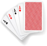 Aces poker playing cards game. Four aces in five card poker hand playing cards with back design Stock Photography