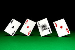 Aces on poker table Stock Images