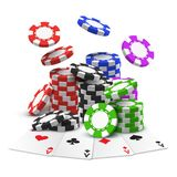Aces with stack or heap of sport betting chips. Gambling cards and realistic stack or heap of poker chips. Black and blue, green and red 3d casino cash in pile stock illustration