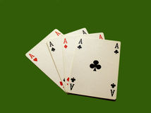 Aces on the table. Aces on the green table Stock Image