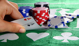 Aces In Texas Hold'Em. Two aces as a starting hand in a game of texas hold em Royalty Free Stock Images