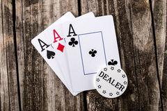 Aces - Three of a Kind Poker Royalty Free Stock Photos