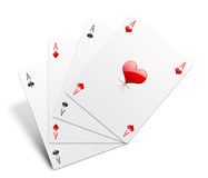 Aces on white Stock Images