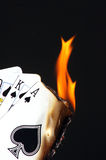 Aces wild. Part of a royal strait spades on fire Stock Image