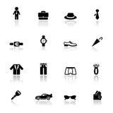 Acessórios ajustados ícones do homem Fotos de Stock Royalty Free