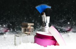 Acessórios cosméticos da beleza do ` s das mulheres, perfume, creme, escovas Imagens de Stock Royalty Free