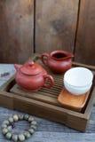 Acessórios da cerimónia de chá do chinês tradicional Fotos de Stock